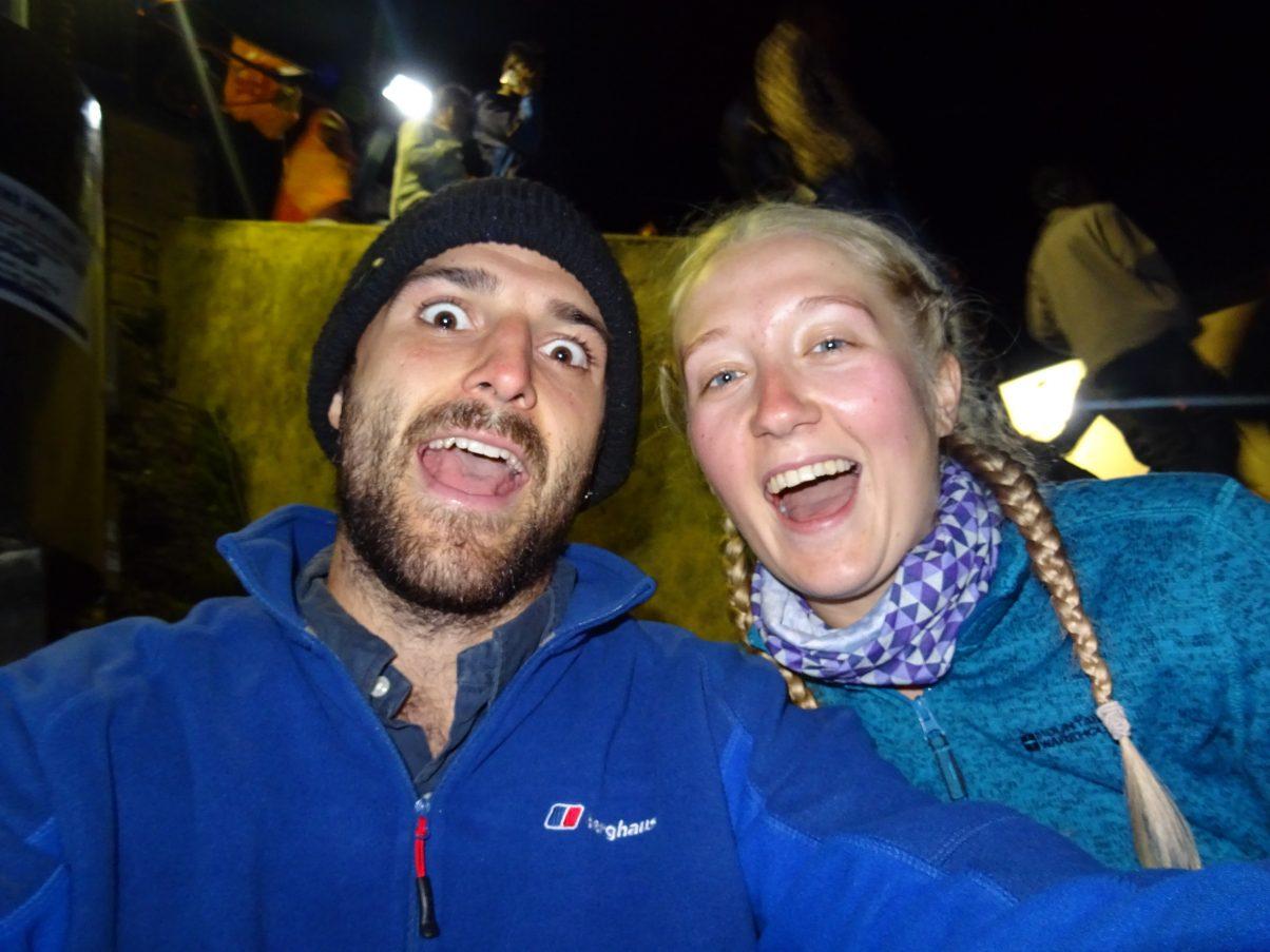 Hiking couple at Adam's Peak