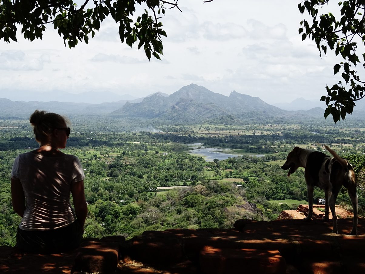 Girl overlooking Sri Lanka mountains