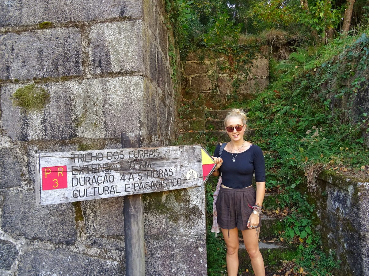 Girl on Portuguese hiking trail