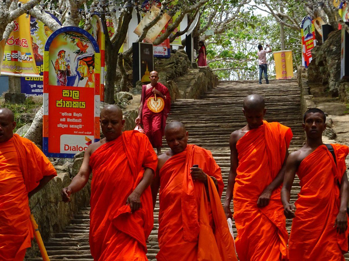 Buddhist monks at temple in Sri Lanka