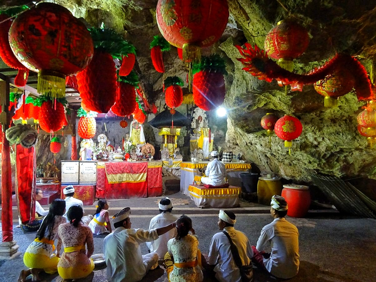 Local worshippers in underground temple