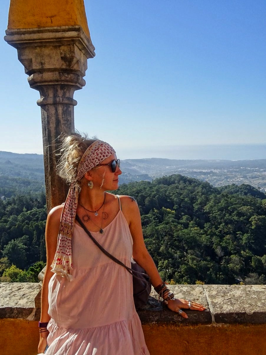 Girl overlooking view from Pena Palace, Sintra