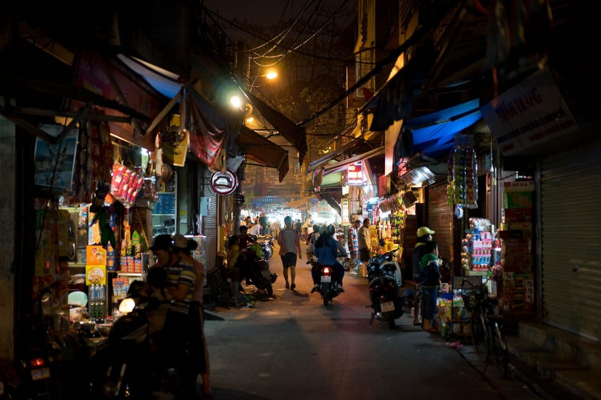 Hanoi market street at night time