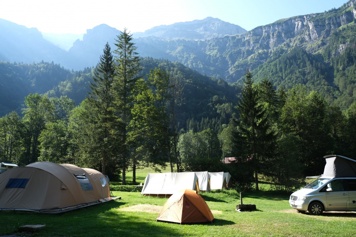 Tent camping in mountain campsite