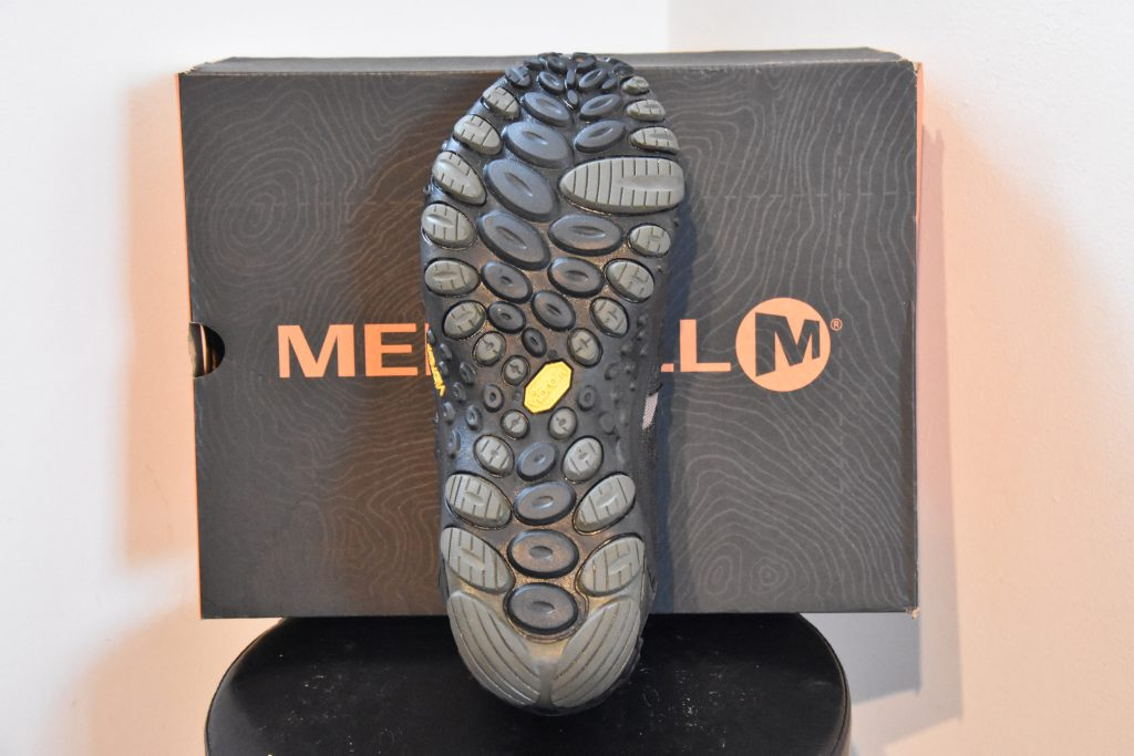 The sole of Merrell vegan hiking shoes for men