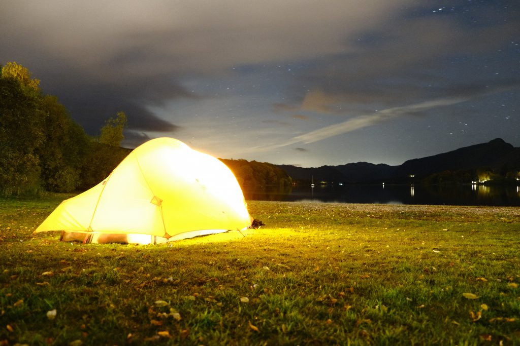 Tent camping infront of a lake