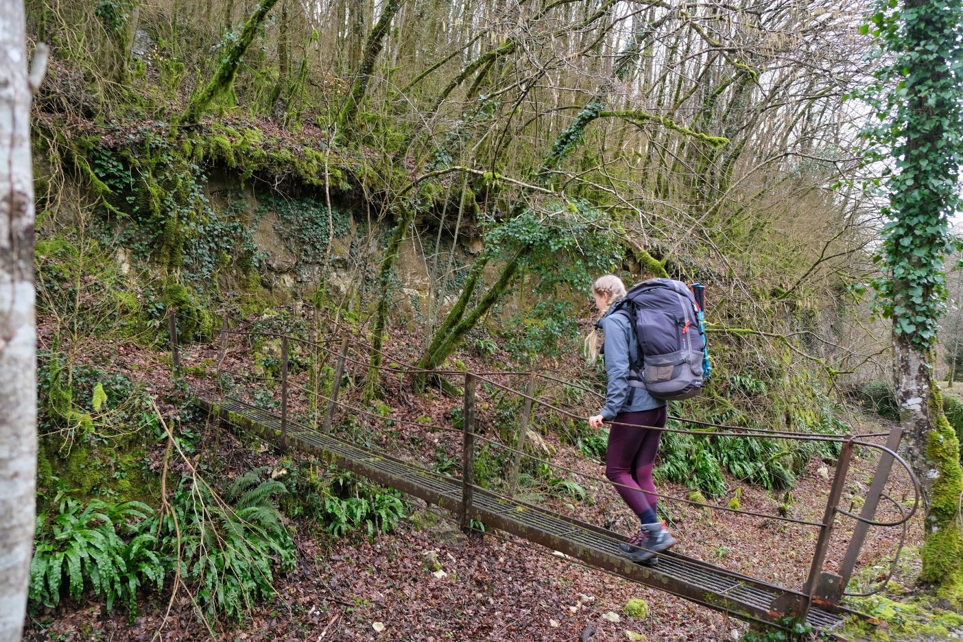 Girl hiking with big backpack