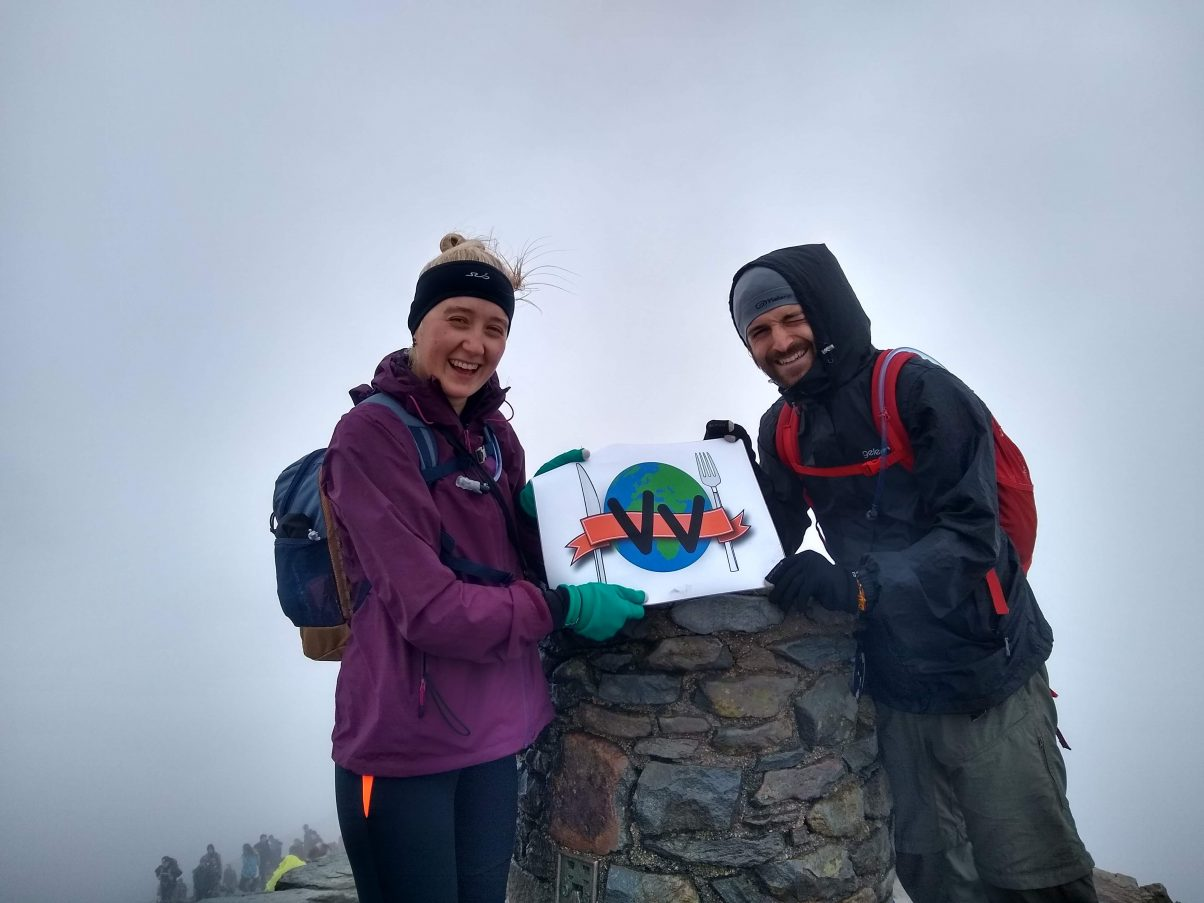 Hikers at the top of Mount Snowdon