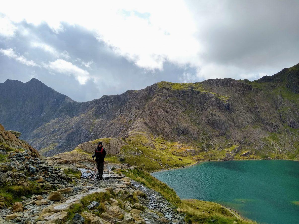Man hiking Snowdon Miners' Track