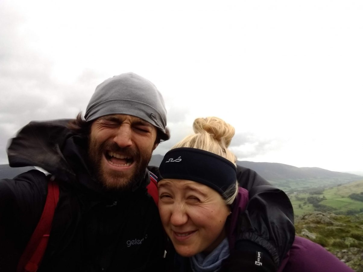 Hikers in bad weather