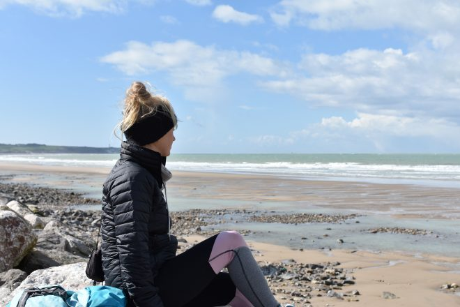 Girl looking across the English Channel