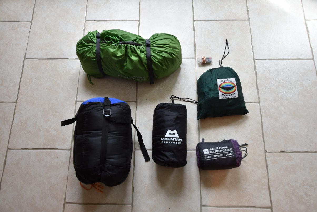 Our sleeping gear on our bike touring kit list