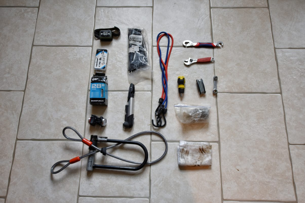Maintenance and repair bike tools for a bicycle touring packing list