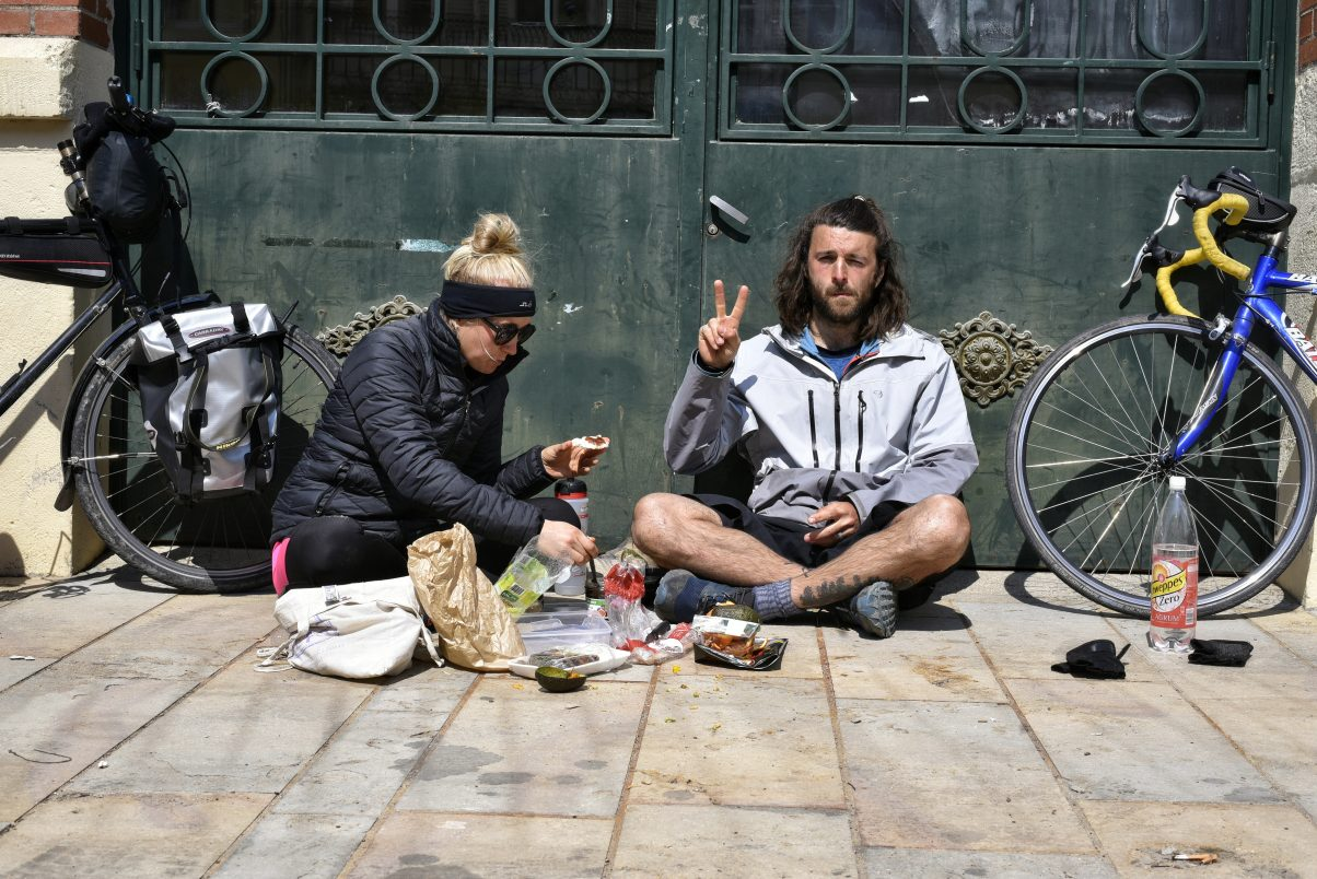 Two people eating vegan food in France