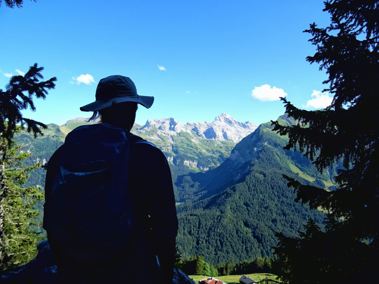 Man outside in mountains