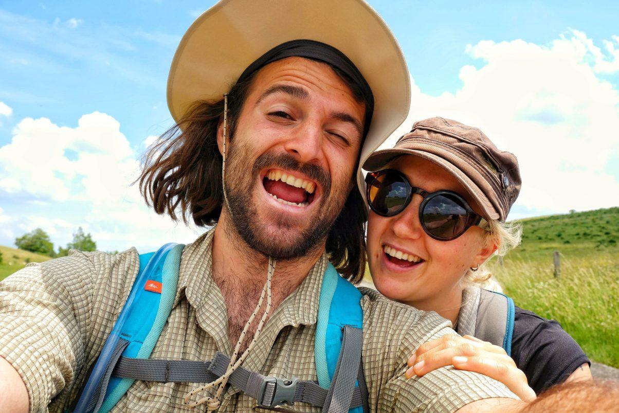 Two happy vegan hikers