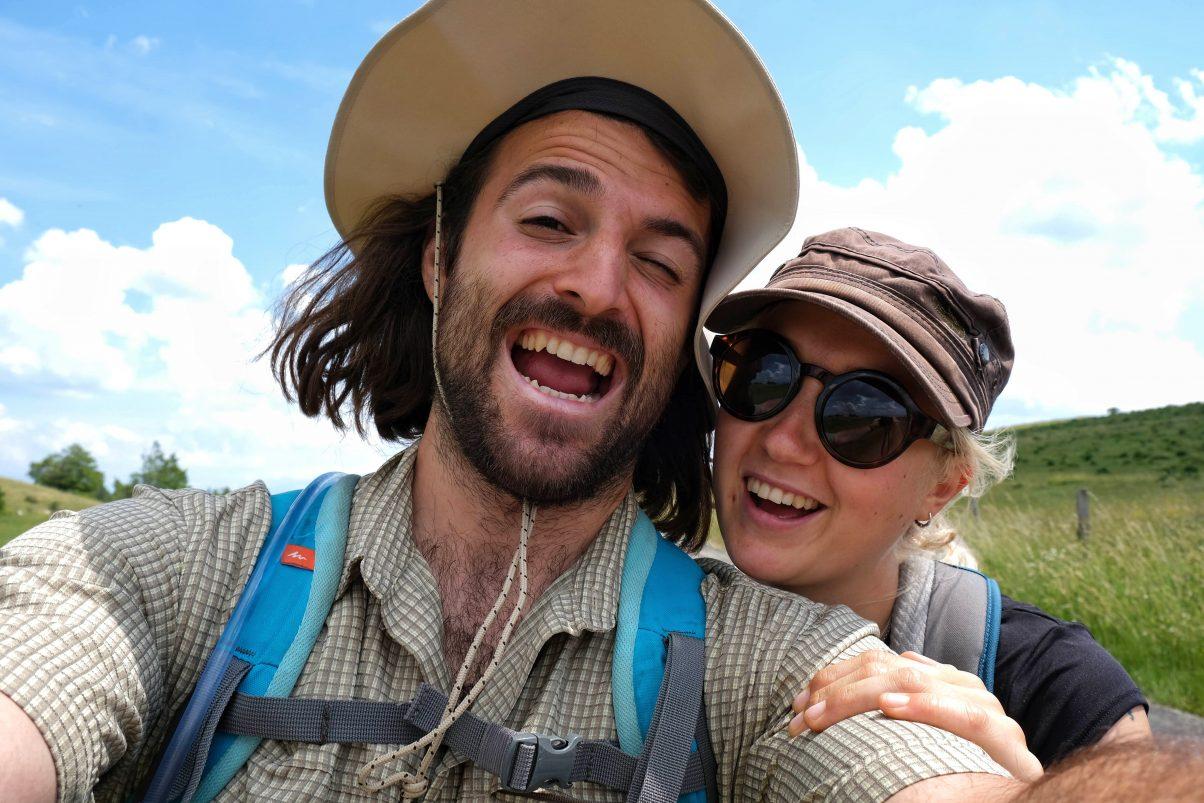 Two vegan hikers