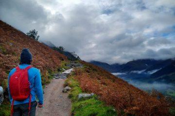Beginner hiker walking on Ben Nevis hiking path