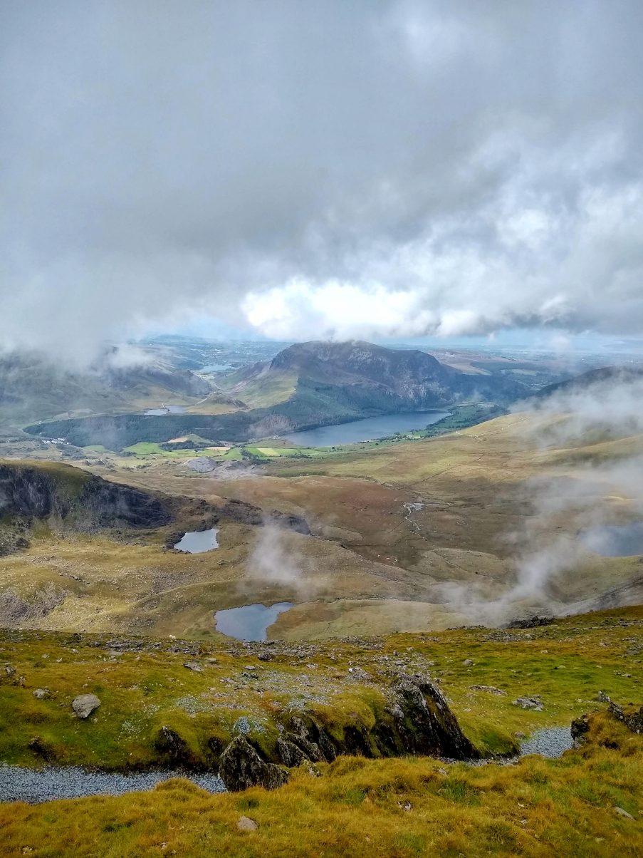 views from the peak of Snowdon via the Pyg Path, Snowdon
