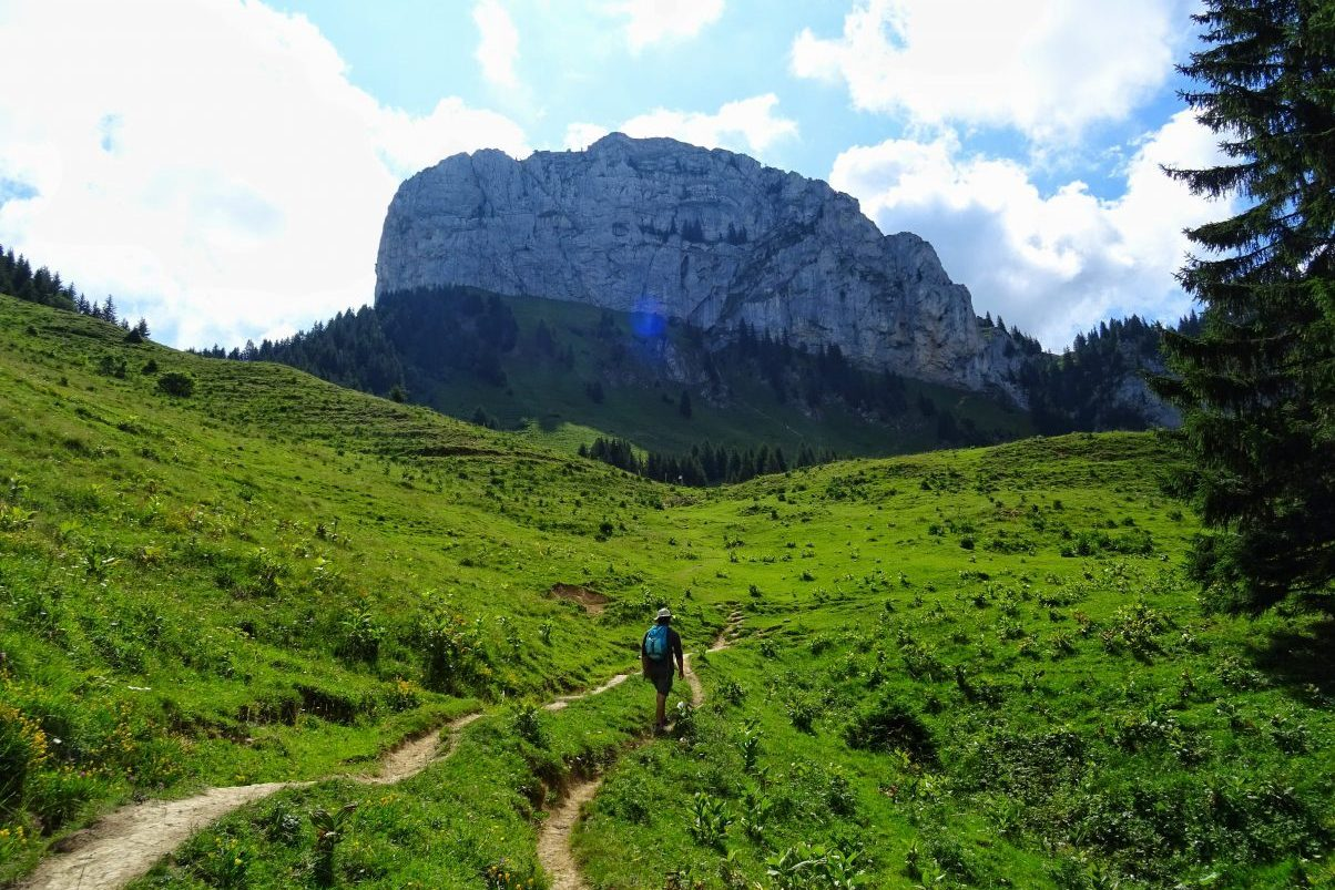 Man hiking in the French Alps