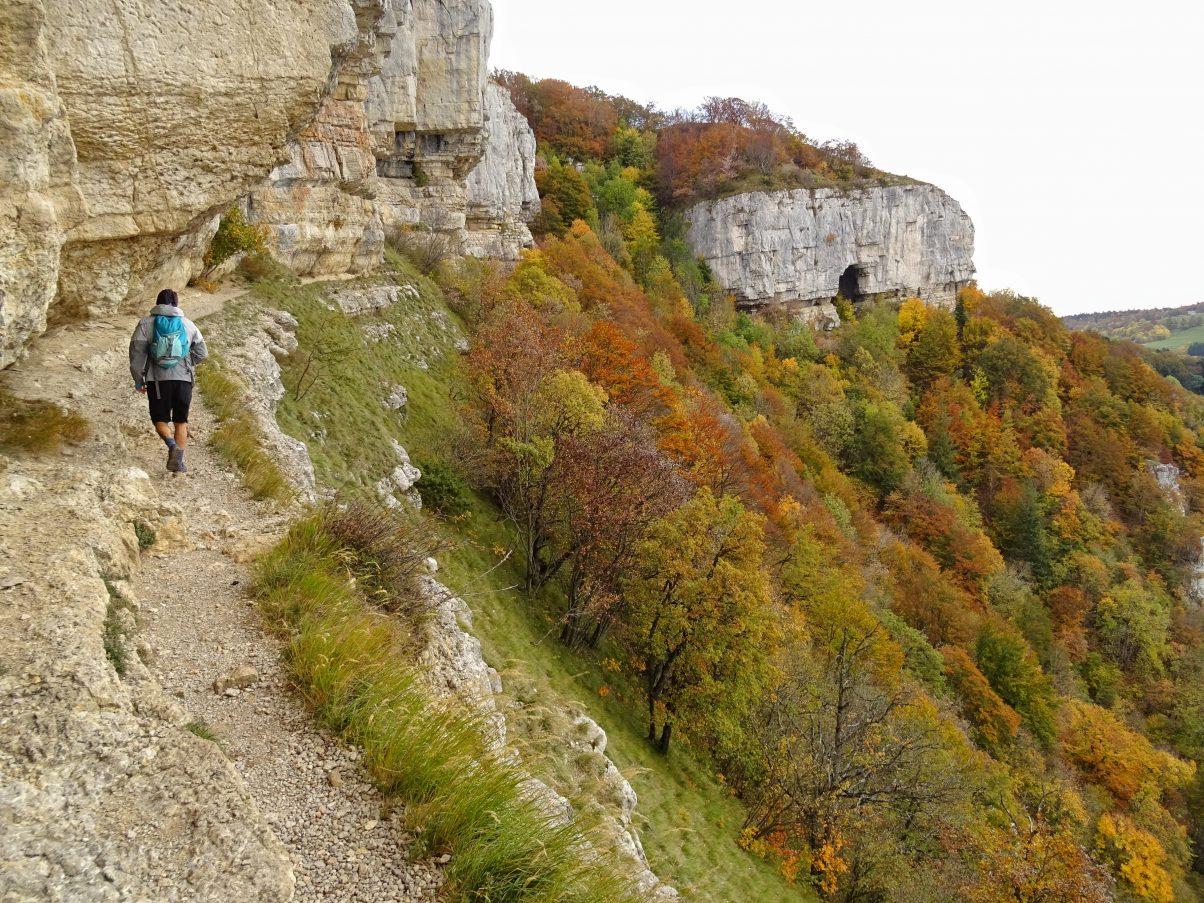 Man on mountain hiking path in Europe