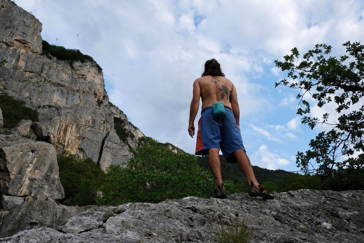 Man rock climbing on mountain