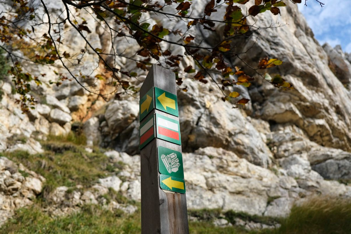 Hiking signpost on Mountain in the French Alps