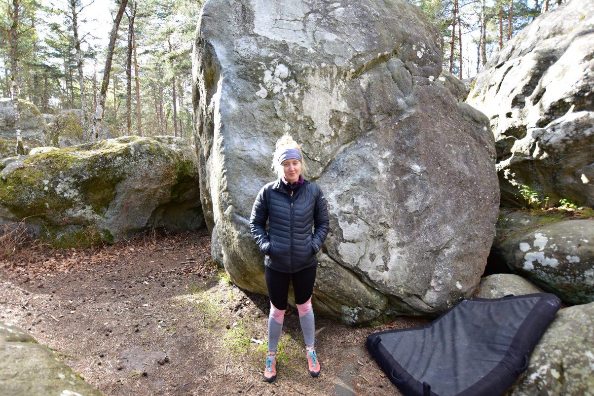 Climber girl in outdoors gear
