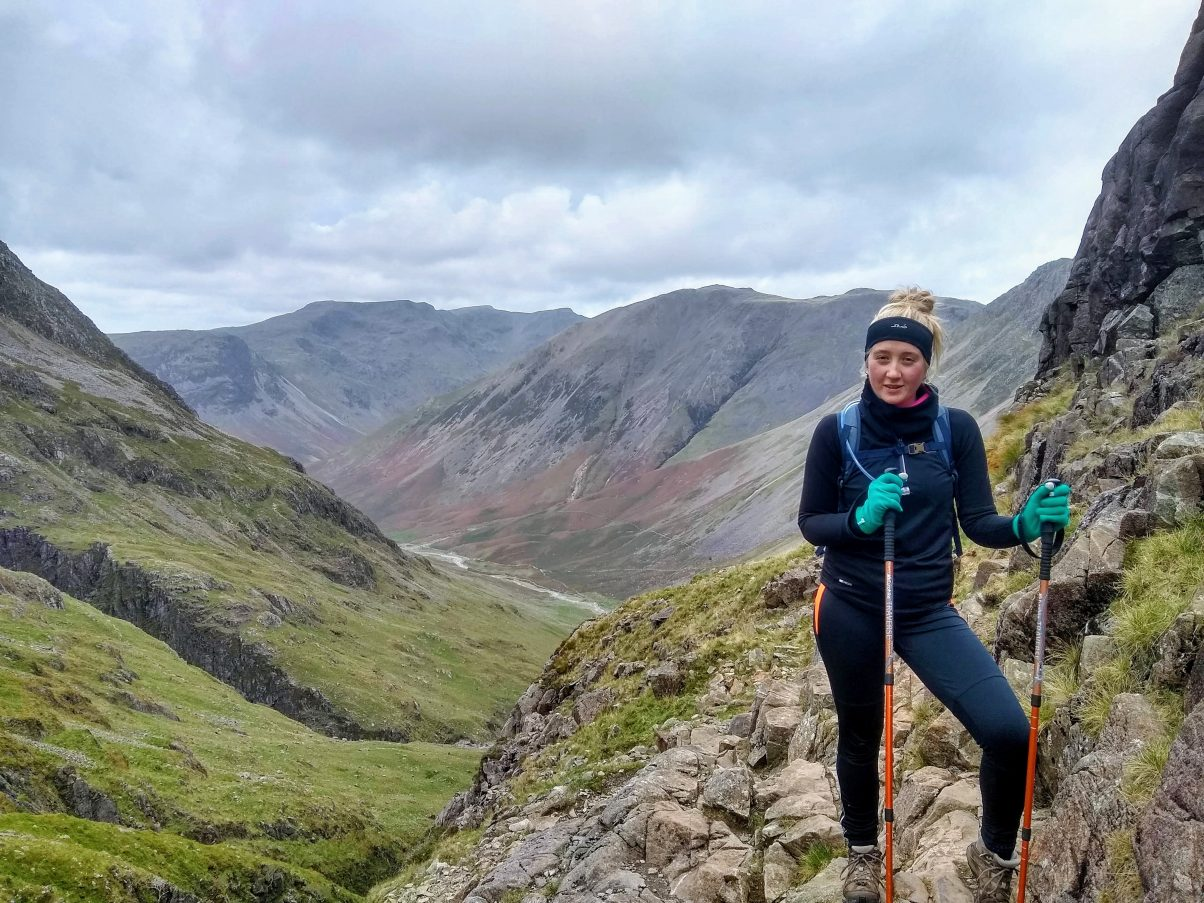Girl hiking Scafell Pike, UK