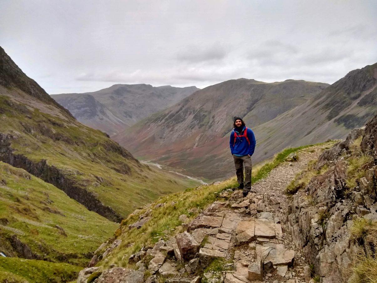Man hiking in the Peak District wearing a Berghaus Fleece