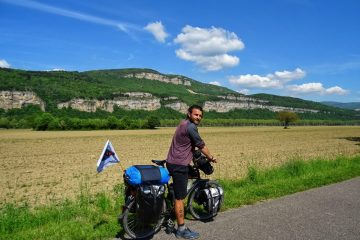 Man bike touring in France