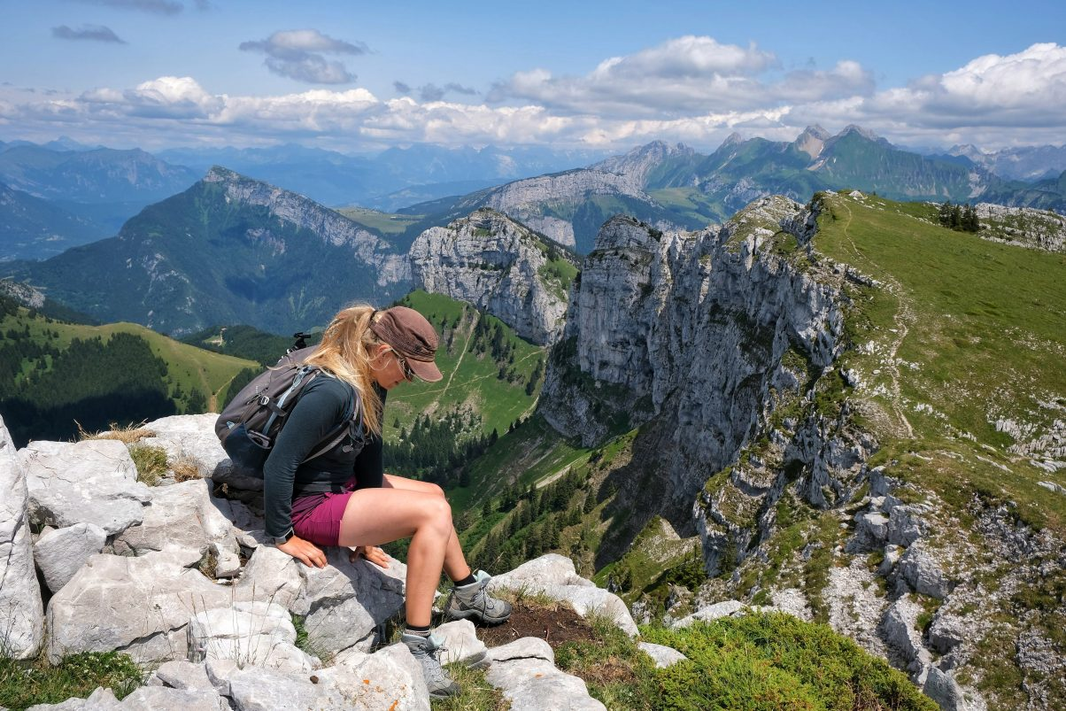 Girl on top of Sous Dine having hiked
