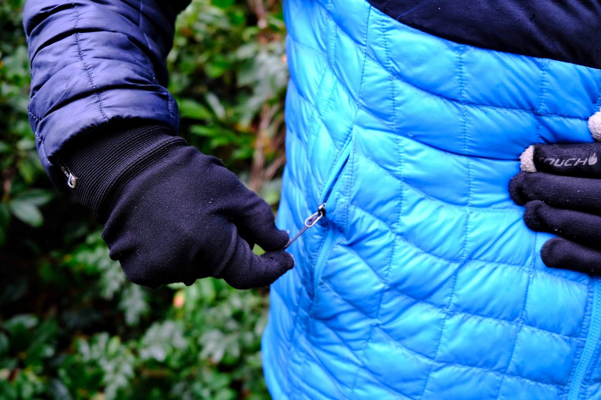 Side pockets on North Face coat
