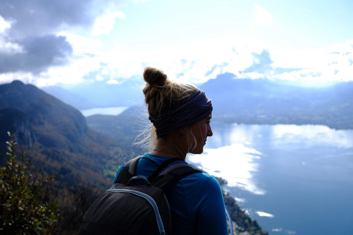 Girl hiking in Swiss Mountains