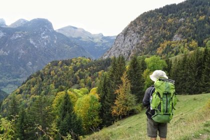 Man backpacking in mountains