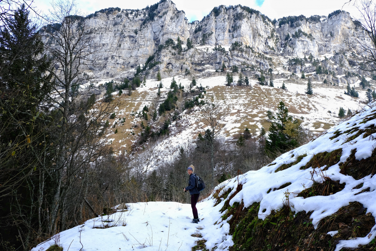 Girl hiking in winter