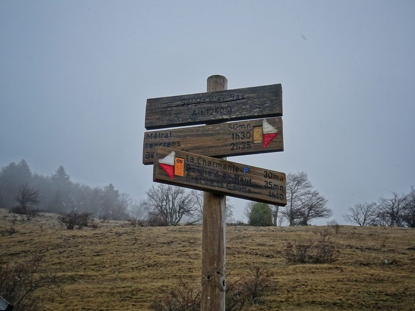 Hiking signpost in the Jura Mountains, France