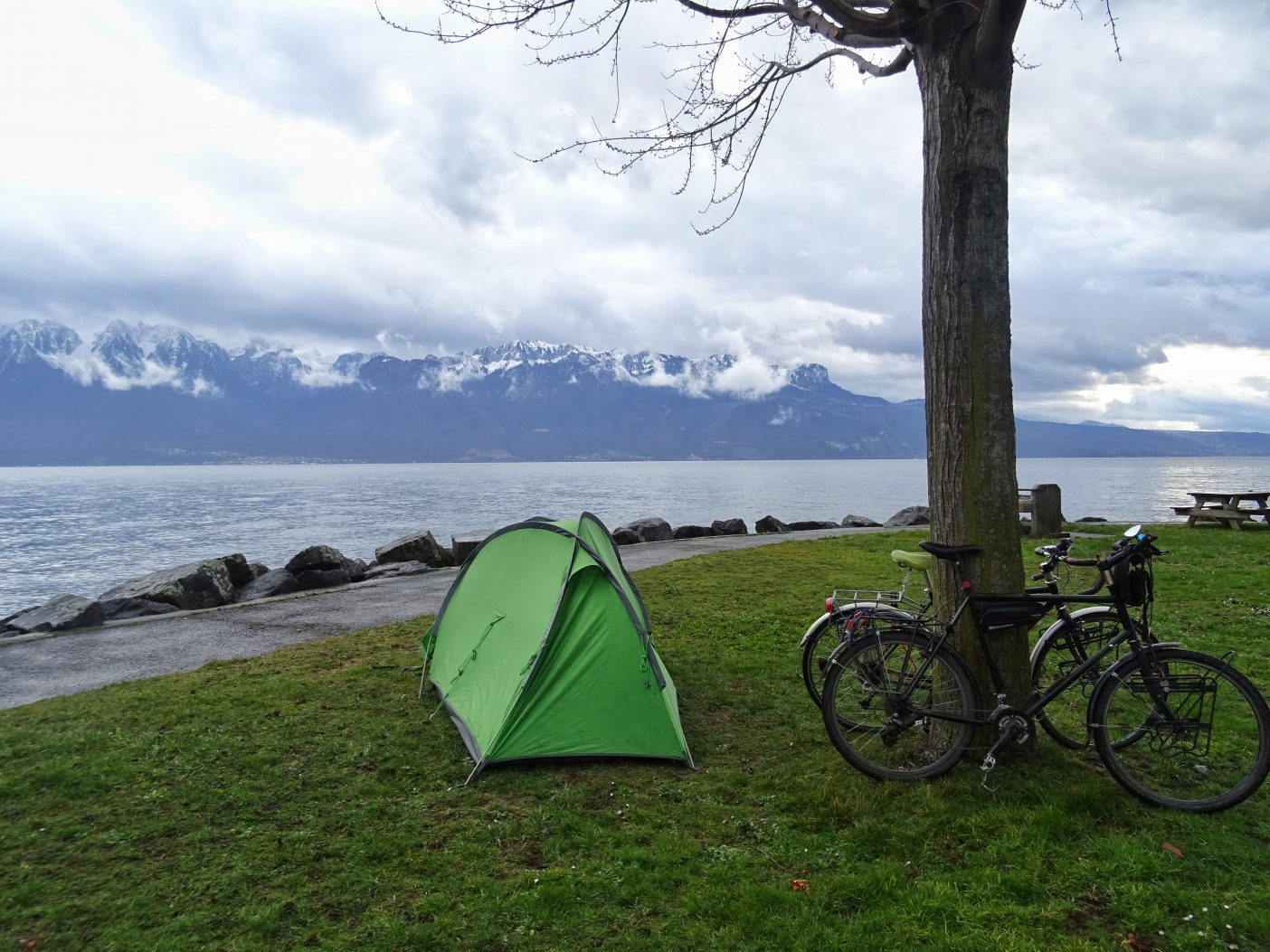 Tent camped on Lac Leman in the Swiss Alps