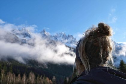 Women looking up to mountain