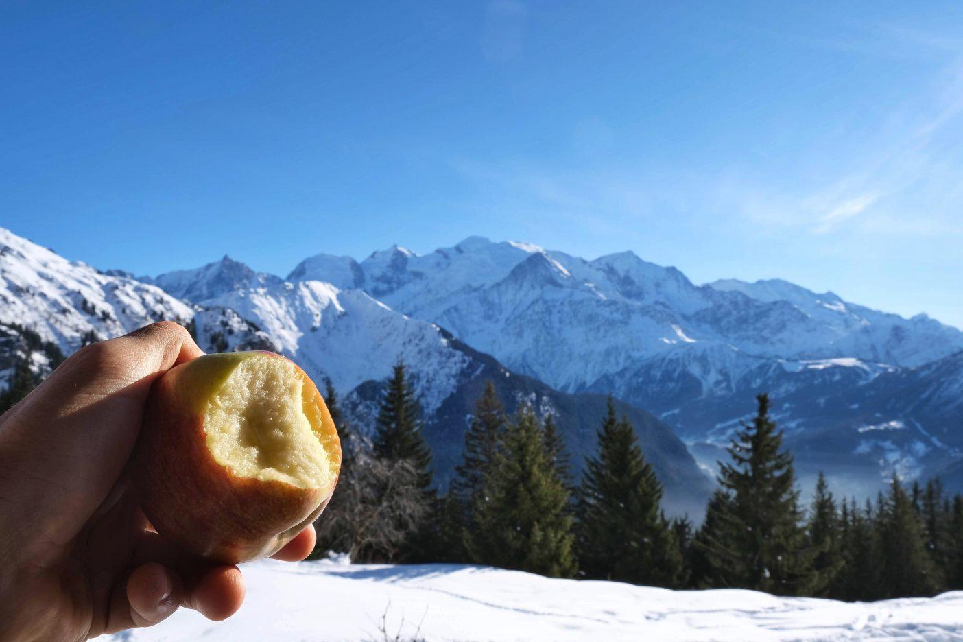 Vegan hiking food with mountain view