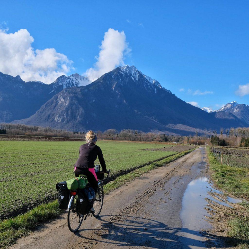 Girl cycling in Switzerland
