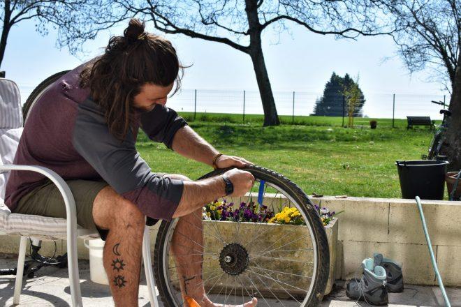 Fixing a bike ahead of adventure