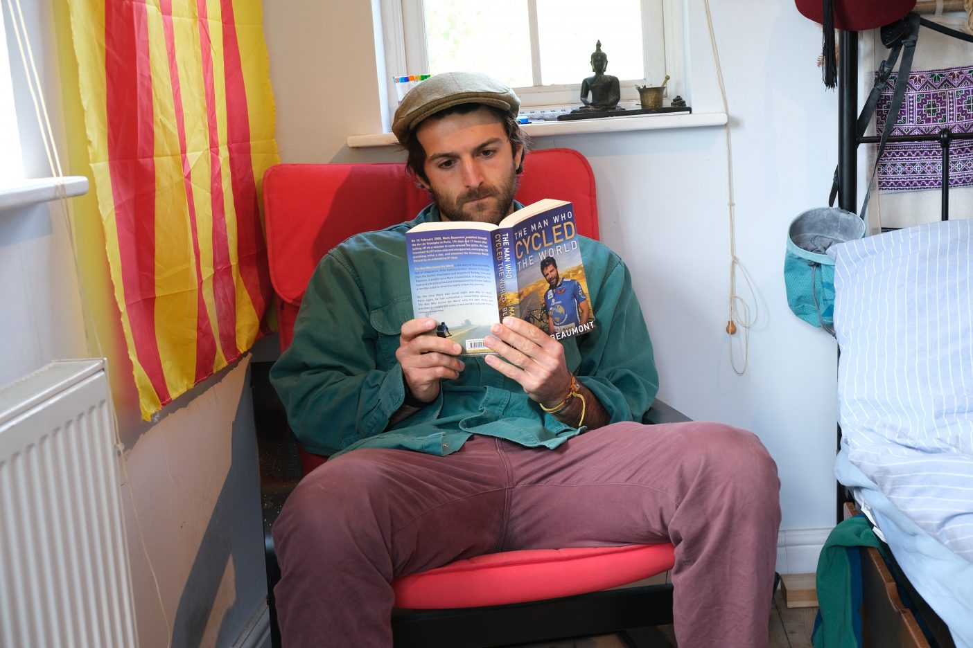 Man reading an adventure book