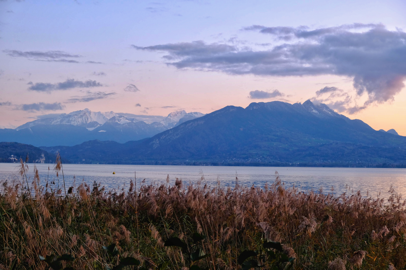 Sunset view of lake and mountains