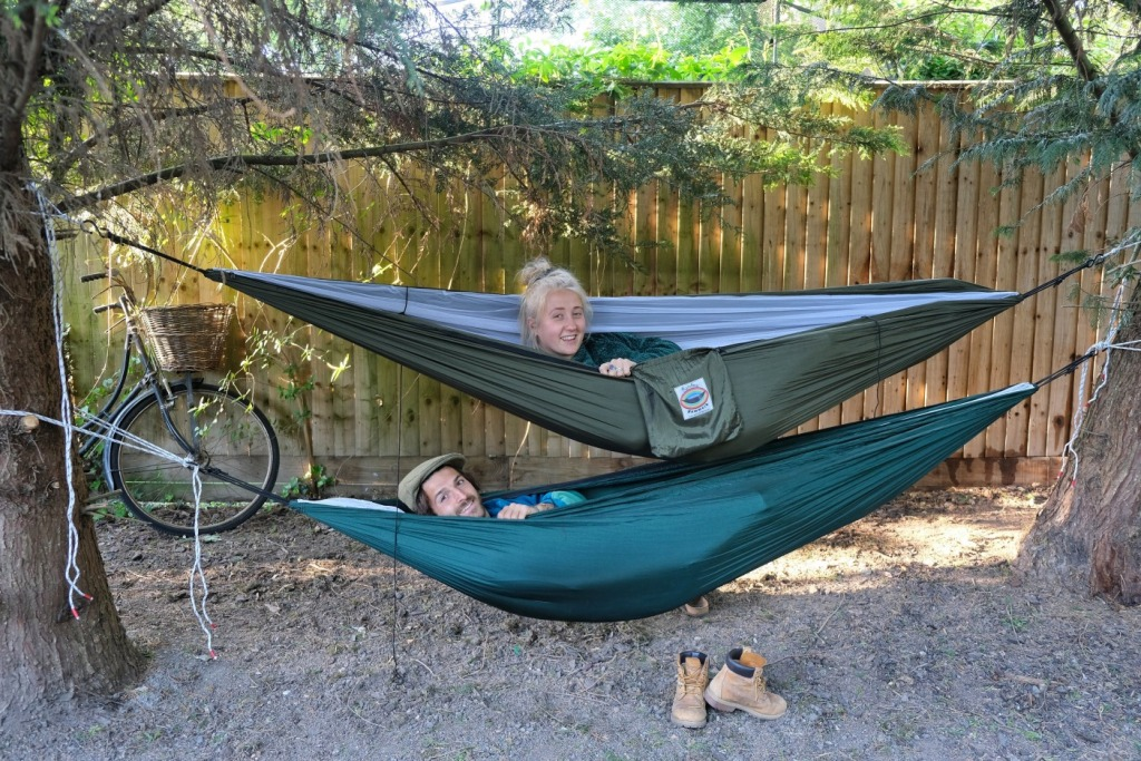 Couple in a hammock bed