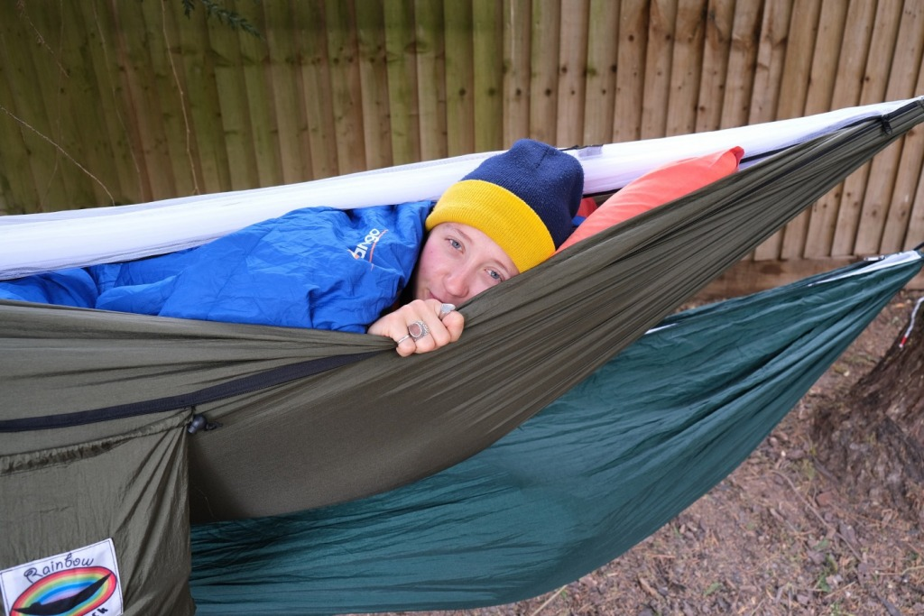 Girl sleeping in a hammock