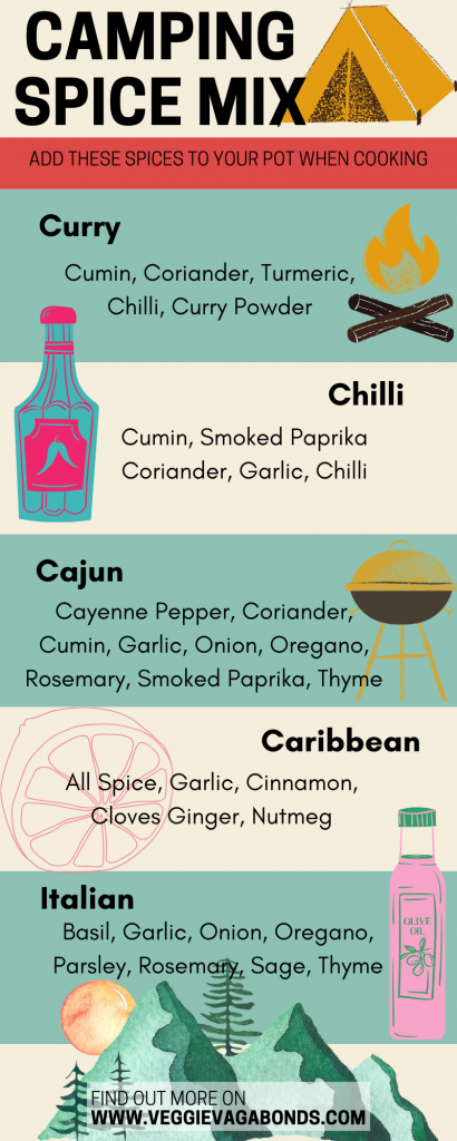 Vegan camping food spice mixes infographic
