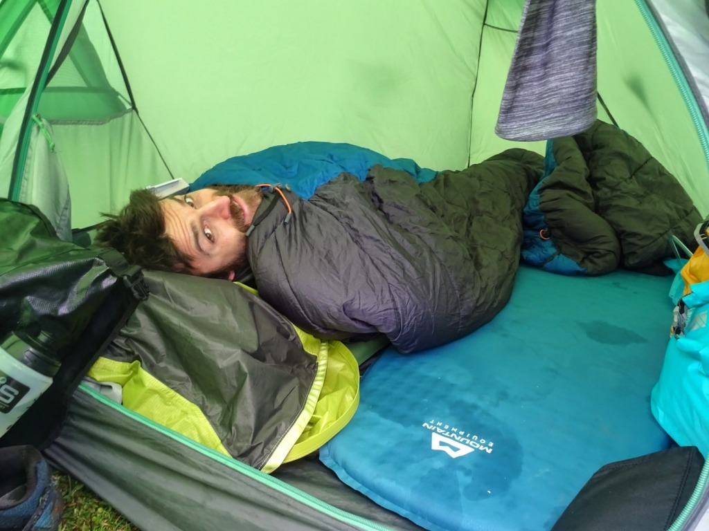 Man sleeping in a sleeping bag