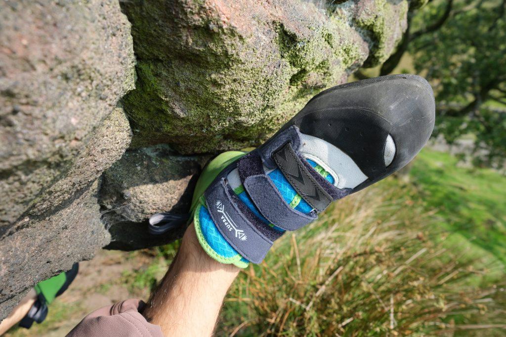 Climber heel hooking outside