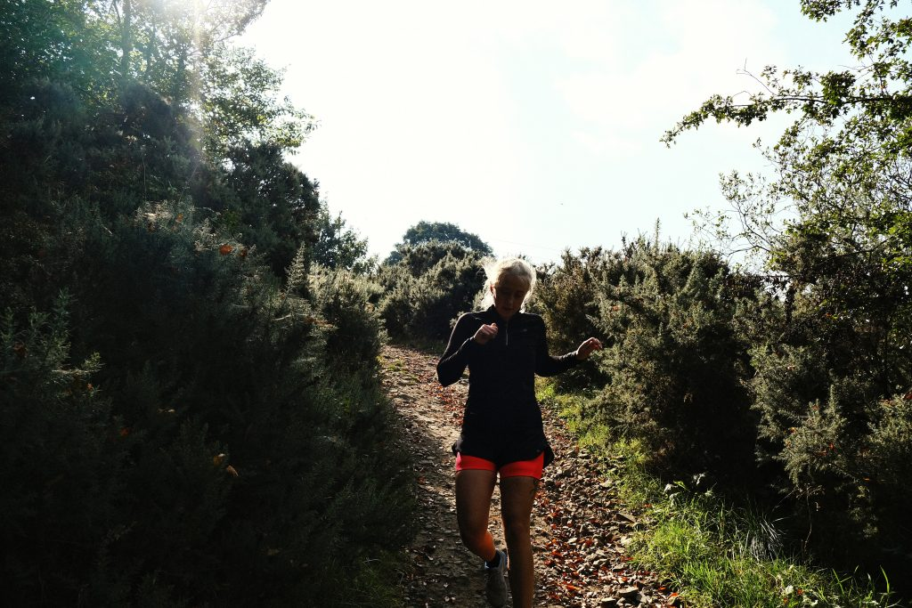 vegan runner in the mountains
